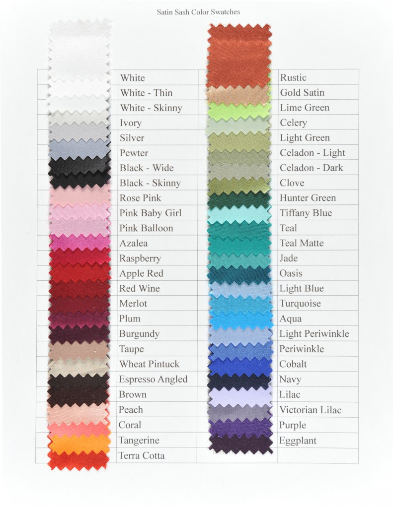 Satin Sash Swatch Colors